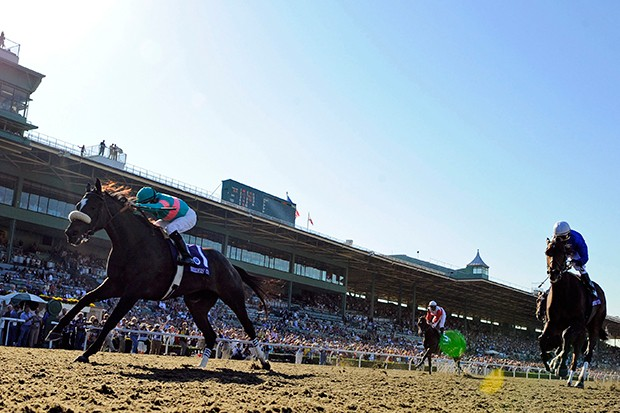 Jockey Mike Smith, left, rides Zenyatta to victory in the Ladies' Classic horse race at the Breeders Cup at Santa Anita Park in Arcadia, Calif., Friday, Oct. 24, 2008.  (AP Photo/Mark J. Terrill)