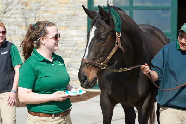 Zenyatta with Katie, who made birthday cookies. Photo by Kyle Acebo.